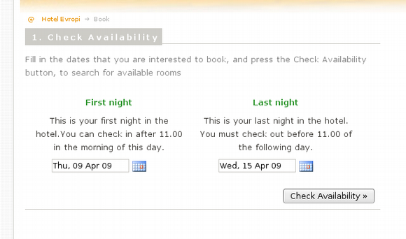 Booking System: check availability screenshot